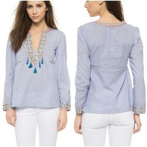 Christophe Sauvat M blue pinstripe embroidery top